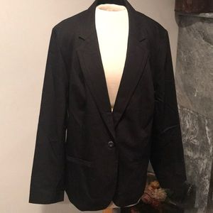Lane Bryant plus size black fitted blazer cotton